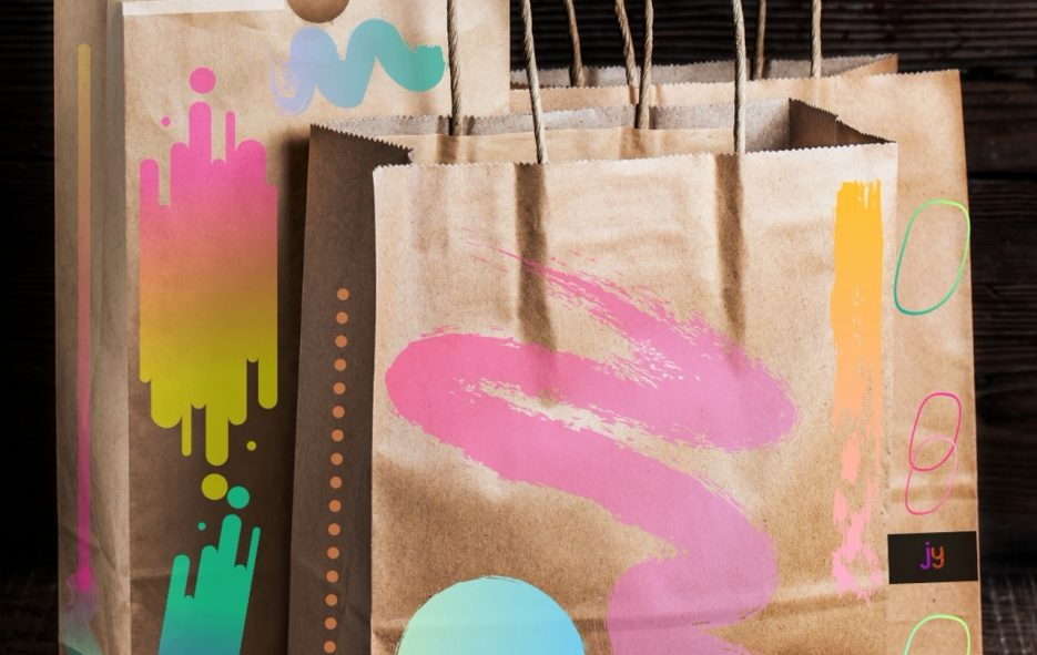 artisticly designed paper bags